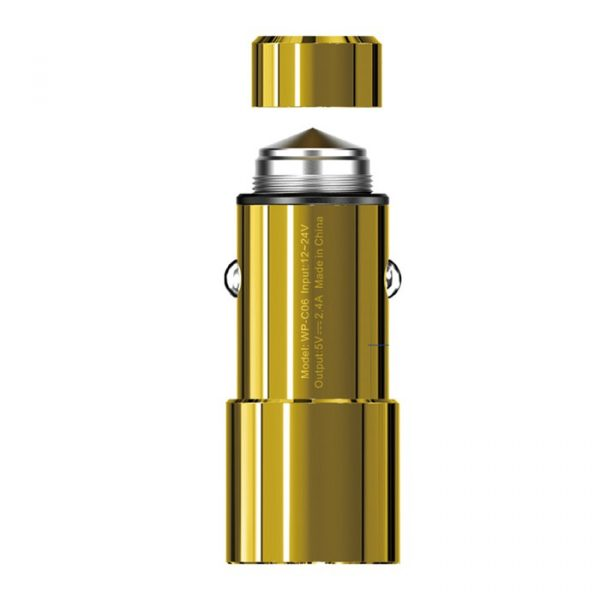 Wk assemble Legend Car Charger Twin USB Car Charger 2.4A Gold